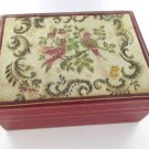 ROLEX ANTIQUE BOX COLLECTIBLE BIRDS TAPESTRY JEWELRY MOD 50's-60's RETRO GENEVE