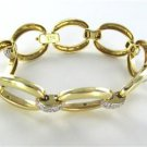 14KT SOLID YELLOW GOLD BRACELET 97 DIAMONDS 1.0 CARAT FANCY OVAL OTC DESIGNER