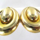 14KT YELLOW GOLD EARRINGS PUFFED DANGLE EARRING HALF MOON UNOAERRE ITALY BREV