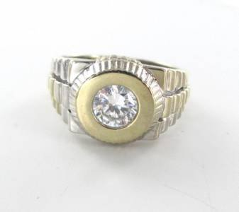 14KT SOLID WHITE YELLOW GOLD RING WHITE STONE SOLITAIRE MEN UNISEX SZ 10 JEWEL