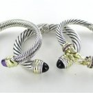 DAVID YURMAN CABLE BRACELET BANGLE SILVER & 14K YELLOW GOLD SAPPHIRES BUCKLE