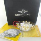 BREITLING WATCH WITH BOX AND PAPERS CHRONO B13356 STEEL & GOLD TWO TONE DATE MEN