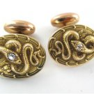 14K SOLID YELLOW GOLD CUFF LINKS SNAKE2 DIAMONDS .10 CARAT 5.5 GRAMS MEN JEWELRY