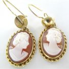 14KT YELLOW GOLD EARRINGS CAMEO DANGLE CORAL VINTAGE NO SCRAP FINE JEWELRY JEWEL