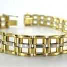 14KT YELLOW WHITE GOLD BRACELET HALLMARK FINE JEWELRY 30.1 GRAM RECTANGLE LUXURY