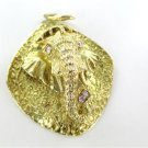 18K YELLOW SOLID GOLD ELEPHANT PENDANT 4 DIAMONDS .24 CARAT ANTIQUE FINE JEWELRY