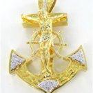 14K YELLOW SOLID GOLD 46 GENUINE DIAMONDS 0.70 CARAT ANCHOR CROSS JESUS CRUCIFIX