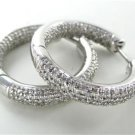 14KT WHITE GOLD EARRINGS HOOP 260 PAVE DIAMOND 1.30 CARAT 8.5 GRAMS FINE JEWELRY