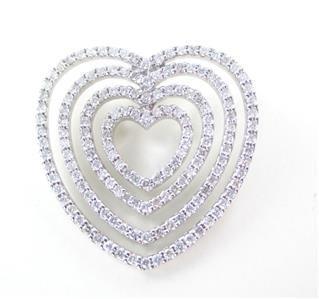 18K SOLID WHITE GOLD DIAMOND HEART 158 GENUINE DIAMONDS 1.58 CARAT 7.1 GRAMS
