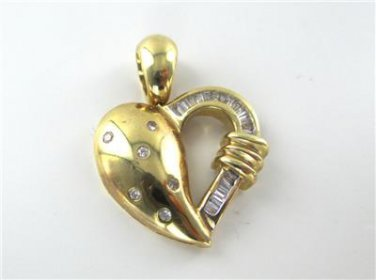 14K SOLID YELLOW GOLD PENDANT HEART 25 GENUINE DIAMONDS .87 CARAT LOVE JEWELRY