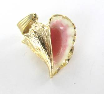 14K SOLID YELLOW GOLD PENDANT CONCH SHELL COSTELLO PINK CHARM 8.5 GRAMS ENAMEL