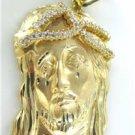 14K YELLOW GOLD PENDANT JESUS HEAD WHITE STONES RELIGIOUS NO SCRAP 25.9 GRAMS