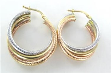 14K YELLOW ROSE WHITE GOLD TRI COLOR EARRINGS HOOP TWISTED NO SCRAP FINE JEWELRY