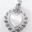 JUDITH RIPKA RIBBED CARVED STERLING SILVER PENDANT HEART THAILAND STONES PEARL