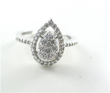 14KT WHITE GOLD 48 GENUINE DIAMONDS .50 CARAT PEAR WEDDING BAND ENGAGEMENT RING
