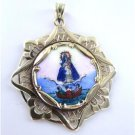 10KT YELLOW GOLD PENDANT VIRGIN OF THE CHARITY HEART OF JESUS FISHERMAN MEDAL
