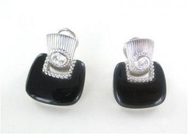 JUDITH RIPKA RIBBED STERLING SILVER EARRINGS WHITE STONE ONYX HINGED THAILAND