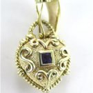14K YELLOW GOLD HEART PENDANT WITH GREEN PURPLE STONE AMETHYST FINE JEWELRY