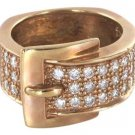 14KT ROSE GOLD SOLID WITH 35 DIAMOND BUCKLE RING NO SCRAP ENGAGEMENT HALLMARK