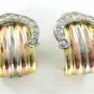 14KT YELLOW WHITE ROSE TRI COLOR GOLD EARRINGS LINDA 26 DIAMOND .80 CARAT BUCKLE