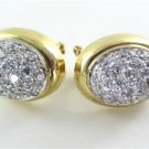 14KT YELLOW GOLD EARRINGS PAVE WHITE STONES ITALY 10.4 GRAMS NO SCRAP CLIP CLASP