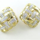 14KT YELLOW GOLD EARRINGS SQUARE 132 DIAMONDS 2 CARAT FINE JEWELRY NO SCRAP