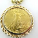22KT YELLOW GOLD COIN 1924 PENDANT SAINT GUARDIAN BULLION 14K GOLD FRAME LIBERTY
