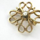 10K KARAT SOLID YELLOW GOLD PIN BROOCH VINTAGE CHRISTMAS SEED PEARL R DESIGNER