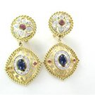 14KT YELLOW GOLD EARRINGS 40 DIAMONDS .40 CARAT SAPPHIRE MISSING SMALL STONE