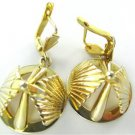 14KT SOLID YELLOW GOLD EARRINGS DOME DANGLE HEAVY 19.2 GRAMS NO SCRAP FINE JEWEL