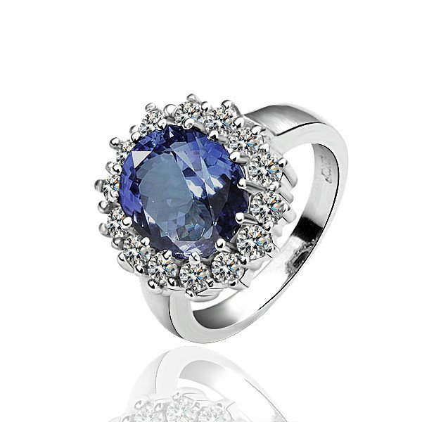 18KGP R027 Blue Crystal 18K PlatinumPlated Ring HealthJewelryNickelFree Ring size 6/7/8