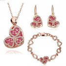 18KS044 18K Gold Plated Sets Health Jewelry Nickel Free K Golden Plating Platinum Rhinestone
