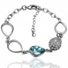 18KGP B001 Blue-Stone Fashion Bracelet 18K Plated Plating Platinum Jewelry Nickel Free