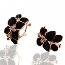 18KGP E018 Gold Black Rose Freeshipping,18K gold plated earrings, Fashion jewelry, nickel free