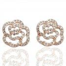 18KGP E044 Flower Stud Earrng 18K gold plated earrings nickel free plating platinum Rhinestone