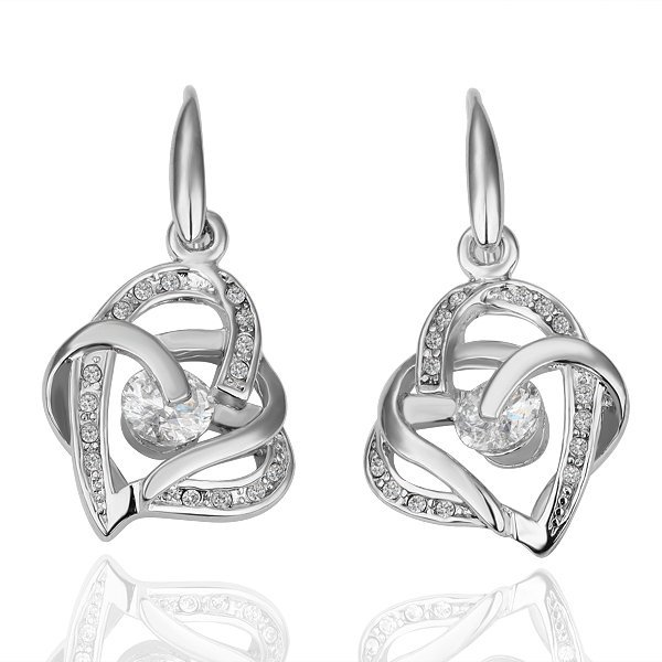 18KGP E081 Hearts Jewelry 18K Platinum Plated Necklace Nickel Plating Pendant