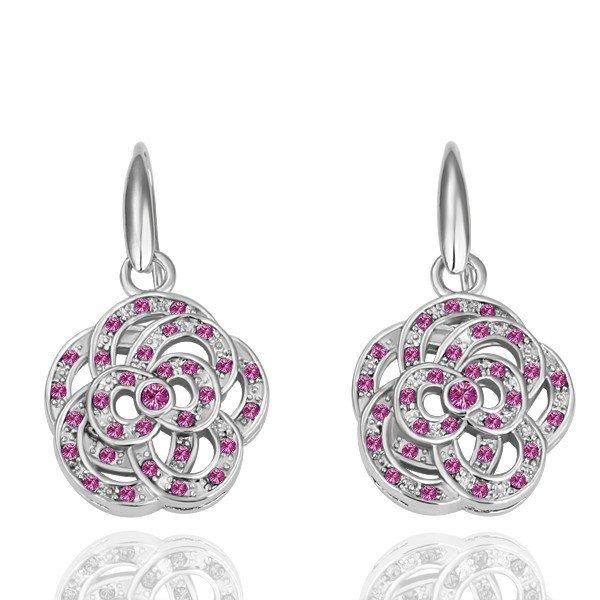 18KGP E053 Flower 18K Platinum plated earrings,  nickel free, plating platinum, Rhinestone
