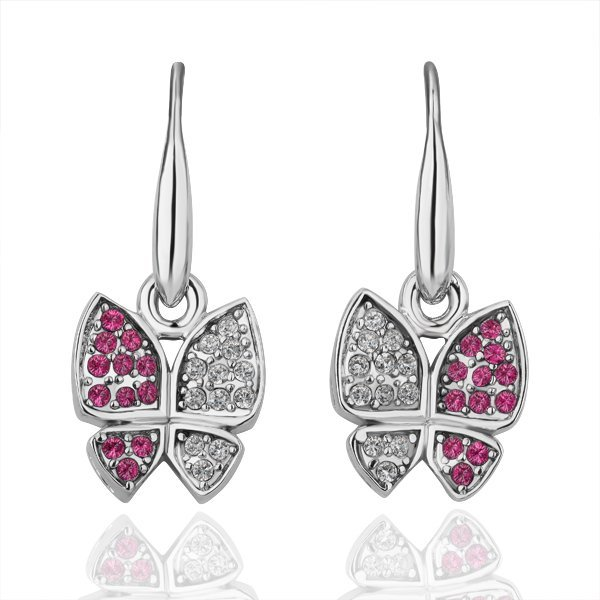 18KGP E099 18K Platinum Plated Butterfly Earrings Nickel Free Plating Pendant