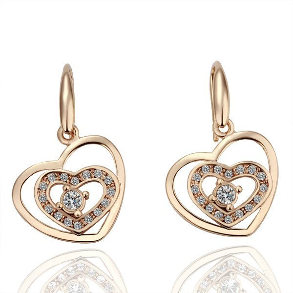 18KGP E041 Hearts Jewelry 18K Gold Plated Austria Crystal Pendent Earrings Nickel Free