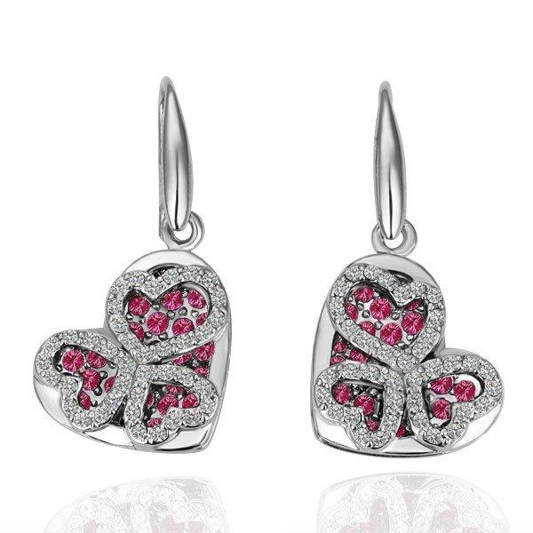 18KGP E061 Heart ,18K Platinum plated earrings, nickel free, plating platinum, Rhinestone