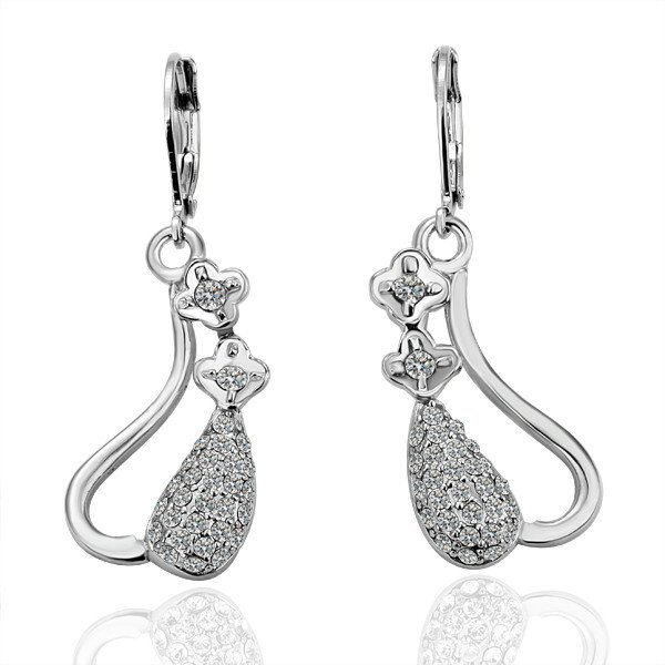 18KGP E039 Elegant 18K Platinum plated earrings, nickel free, plating platinum, SWA Crystal
