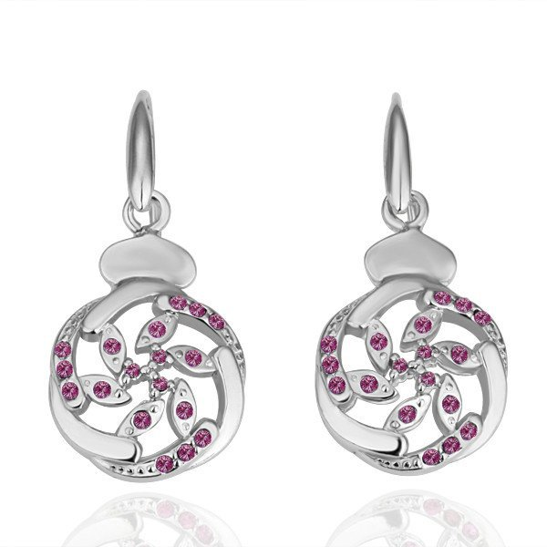 18KGP E051 Copper with 18K Platinum plated earrings, nickel free, plating platinum, Rhinestone
