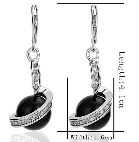 18KGP E255 Black Imitation Pearl 18K Platinum Plated Earrings Nickel Free Golden Jewelry Platinum