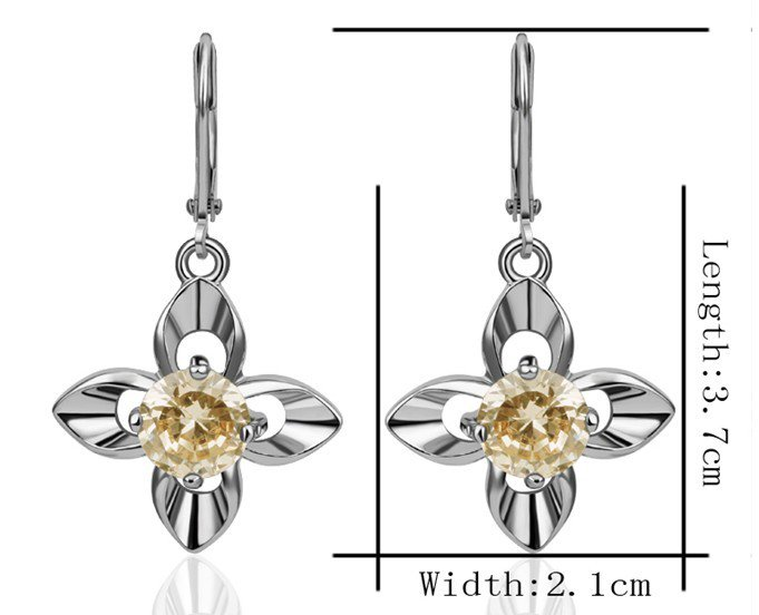 18KGP E261 Flower 18K Platinum Plated Earrings Nickel Free K Golden Jewelry Plating Platinum