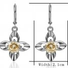 18KGP E261 Flower 18K Platinum Plated Earrings Nickel Free K Golden Jewelry Plating Platinum