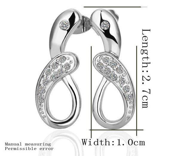 18KGP E238 18K Platinum Plated Earrings Nickel Free K Golden Jewelry Plating Platinum