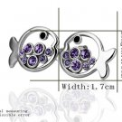 18KGP E225 Purple Fish 18K Platinum Plated Earrings Nickel Free K Golden Jewelry Plating Platinum