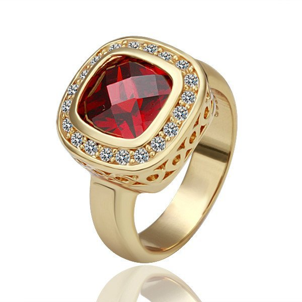 18KGP R056 Red Crystal 18K Gold Plated Ring Nickel Free K Golden Plating Ring size 6/7/8