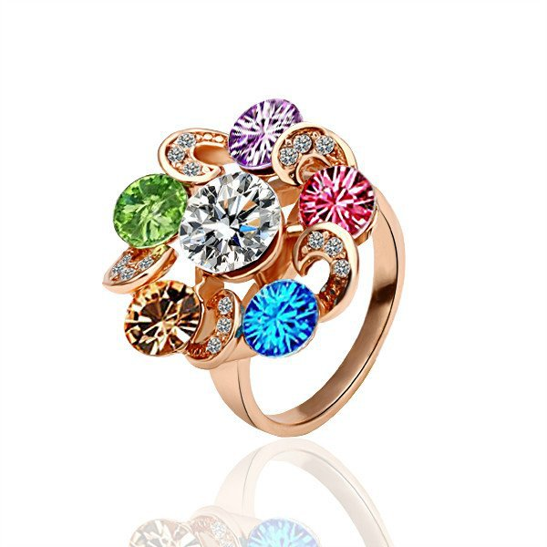 18KGP R019 Multicolour Crystal 18K Gold Plated Ring Nickel Free Ring size 8