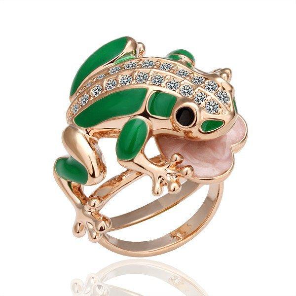 18KGP R015 Frog Ring 18K Gold Plated Ring  Nickel Free Ring size 8